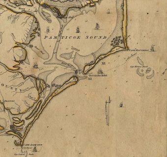 1792 map detail of Ocracoke Inlet