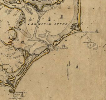1792 map detail of Ocracoke Inlet