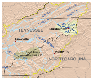 Map of East Tennessee and Western North Carolina with Doe River pictured.