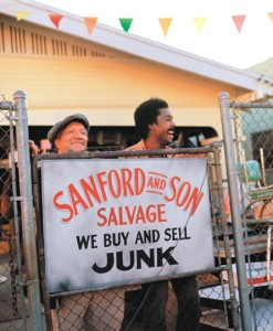Redd Foxx and Demond Wilson on the set of Sanford and Son.