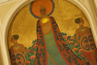 Mural of Queen Califia (or Calafia) in the Room of the Dons at the Mark Hopkins Hotel, San Francisco.