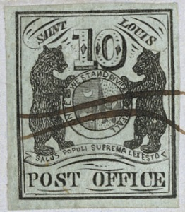 Provisional stamps issued by the St. Louis Post office in 1845-46 to facilitate prepayment of postal fees