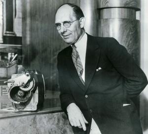 Kettering posing with his invention, the electric self-starter