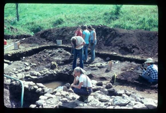 Archaeologists excavating the Catoctin Furnace Cemetery