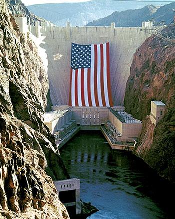 hoover dam american flag